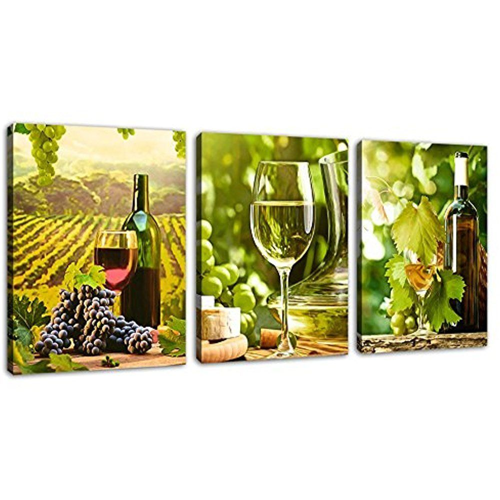 Framed] Green Grapes Wine Vineyard Canvas Art Print Picture Wall ...