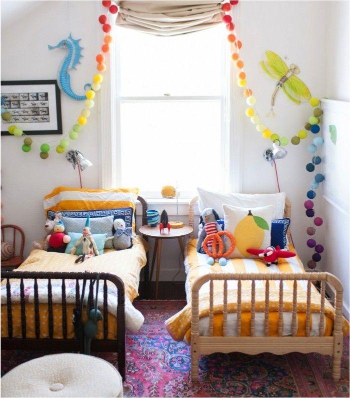 Farbenfrohe Kinderzimmer Fensterdekoration Fenstergestaltung Mit