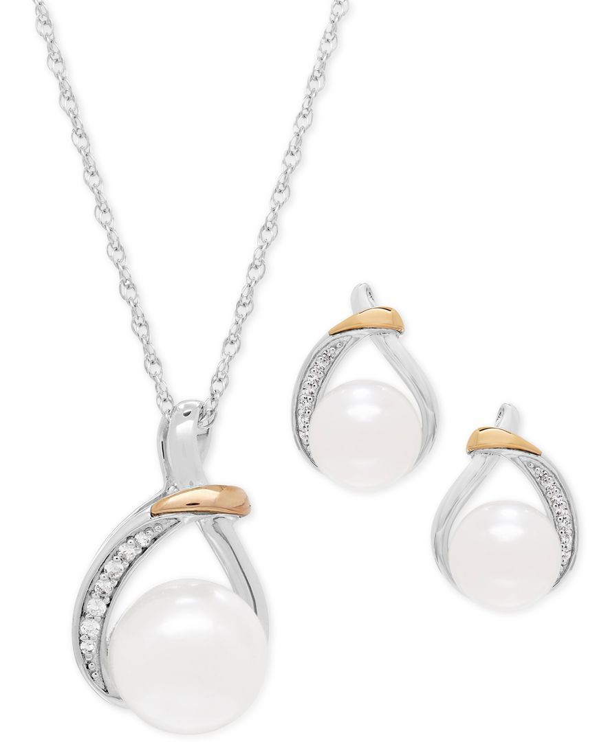 64619666e Cultured Freshwater Pearl (9 & 10mm) and White Topaz (1/6 ct. t.w.) Pendant  Necklace and Earrings Set in Sterling Silver and 14k Gold