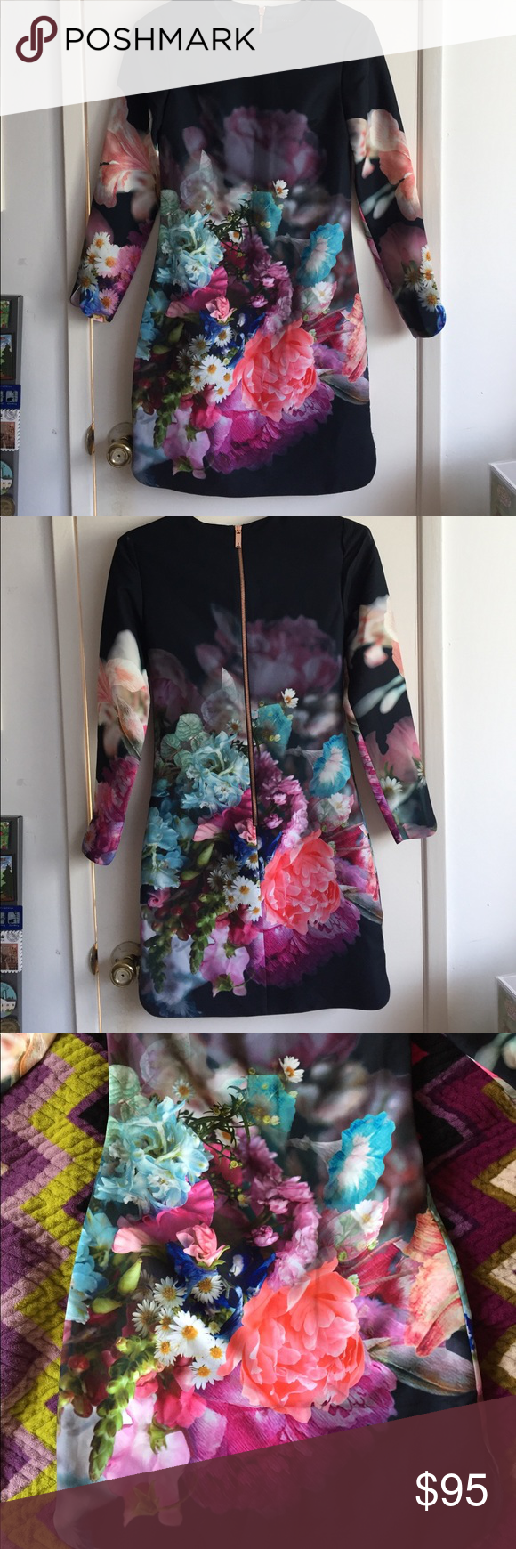 8d47c69d1e393 NWT Ted Baker Long Sleeve Vyra Floral Tunic Dress This is a gorgeous Ted  Baker