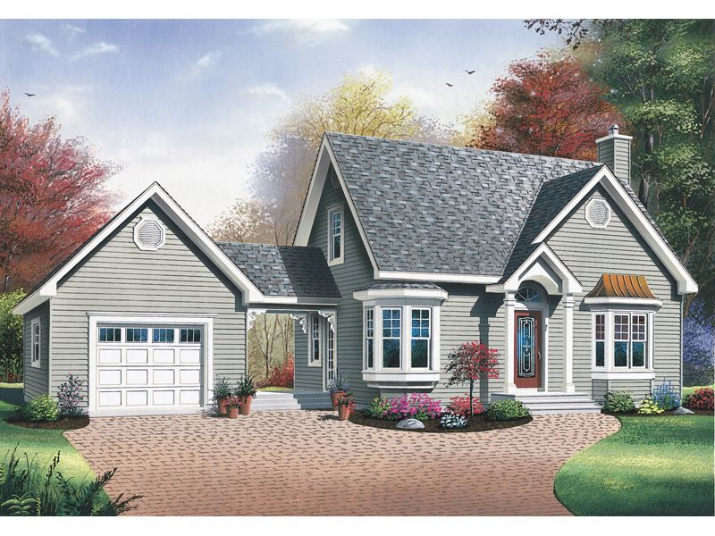Blue bell country home breezeway garage plans and ranch for Country garage plans