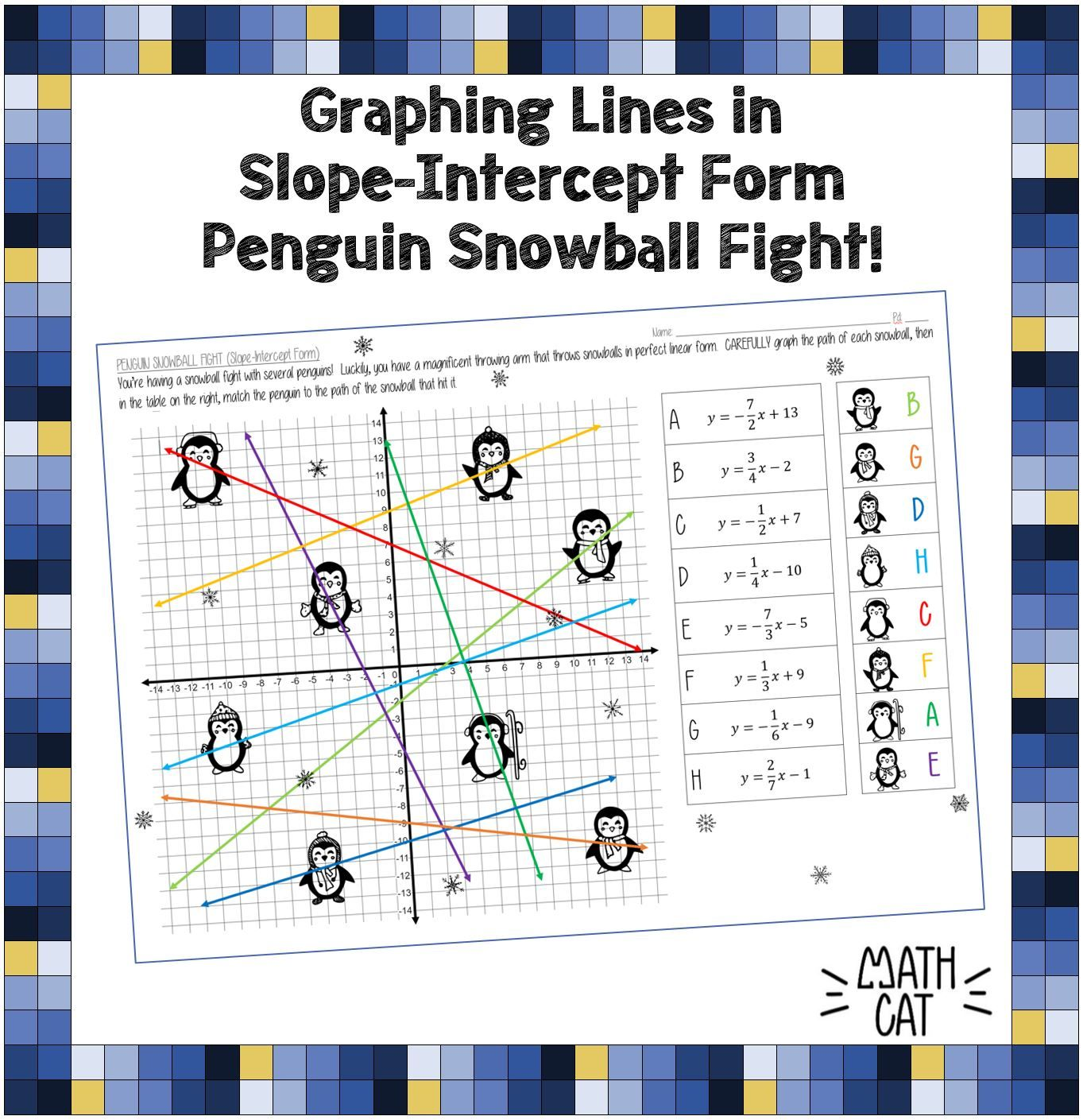 Penguin Snowball Fight Graphing Lines In Slope Intercept