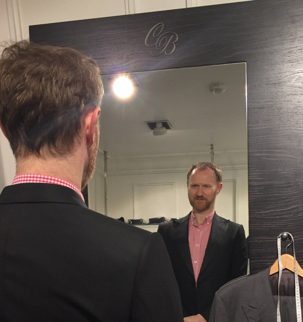 "Chester Barrie on Twitter: ""Sneak peak of nominee @Markgatiss in his @Chester_Barrie jacket before the @OlivierAwards. #fingerscrossed #cbstyle https://t.co/FFrlW9HeOp"""
