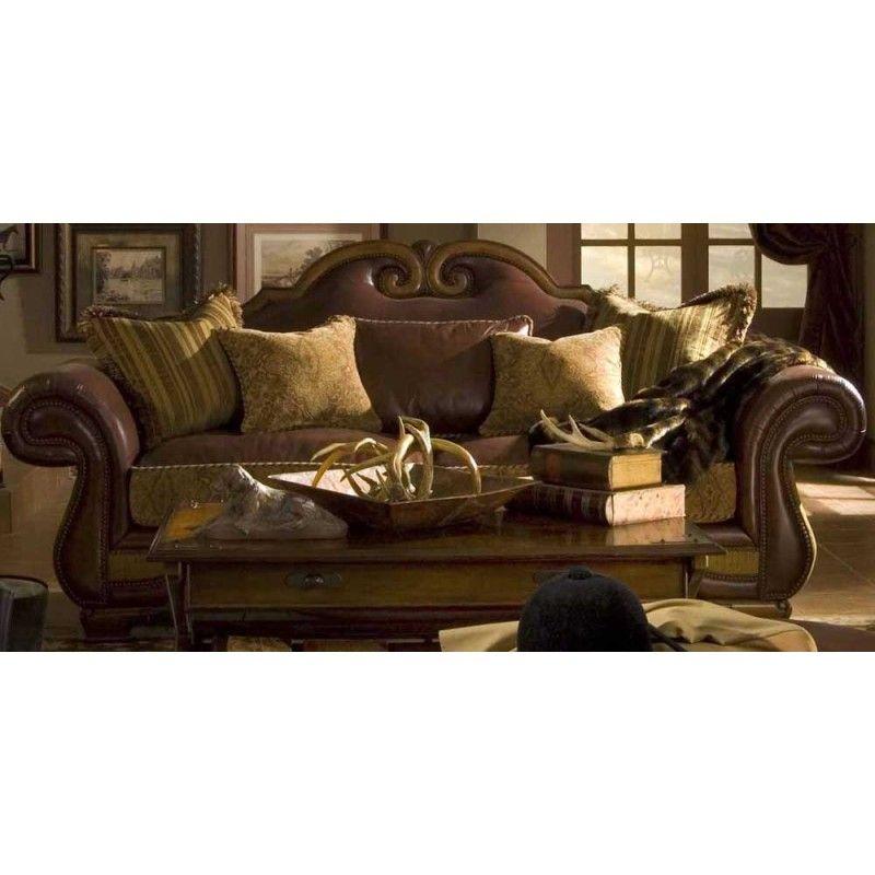 Cortina Wood Trim Camelback Sofa by Michael Amini