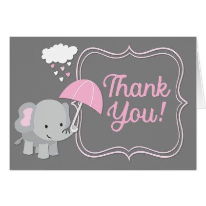 Baby elephant girl baby shower pink thank you note card baby elephant girl baby shower pink thank you note card baby gifts child new born negle Gallery