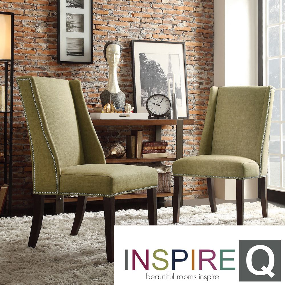 INSPIRE Q Geneva Chartreuse Linen Wingback Hostess Chairs (Set of 2) by  iNSPIRE Q