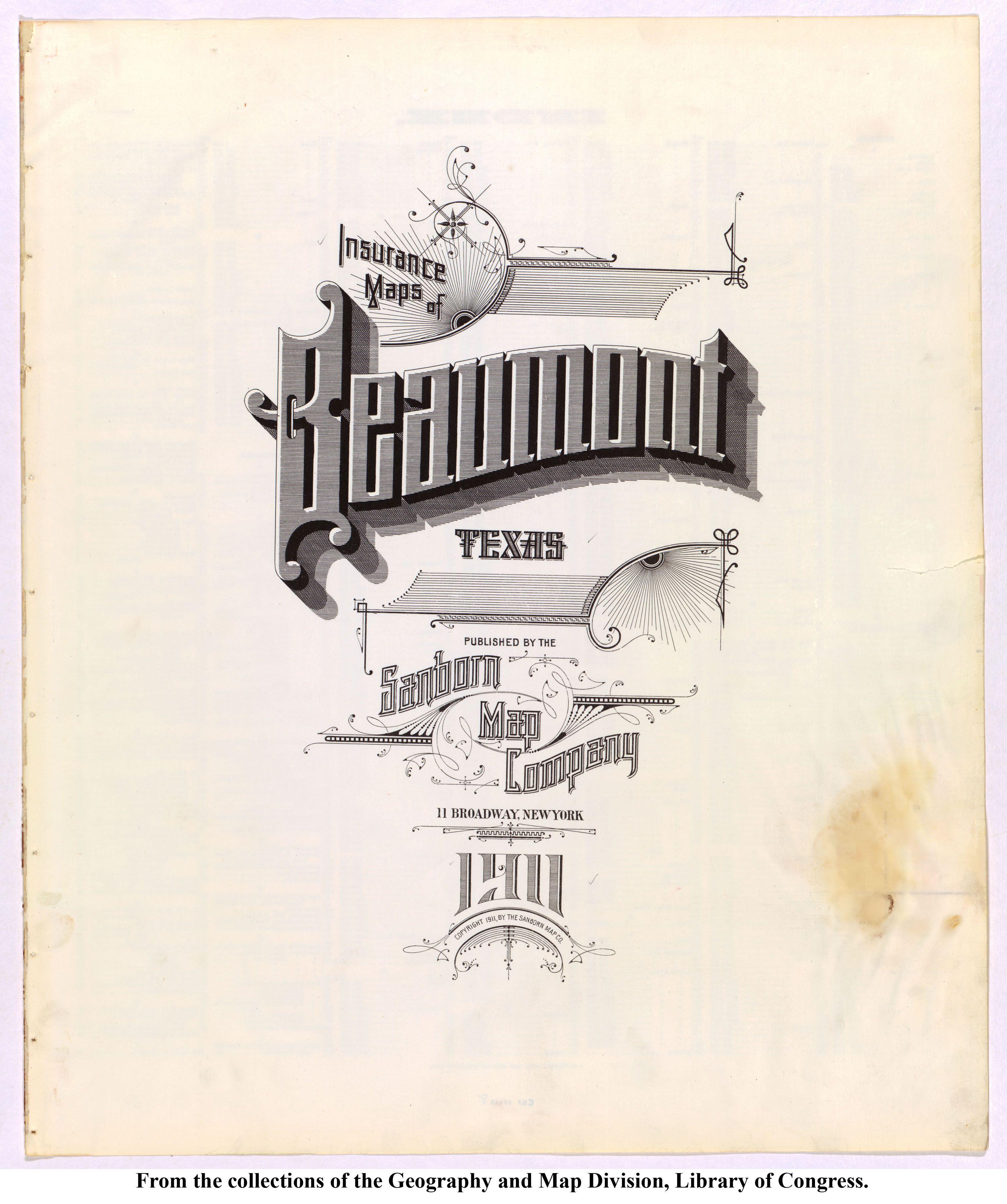 Sanborn Map Beaumont Texas 1911 Typography New York City Map