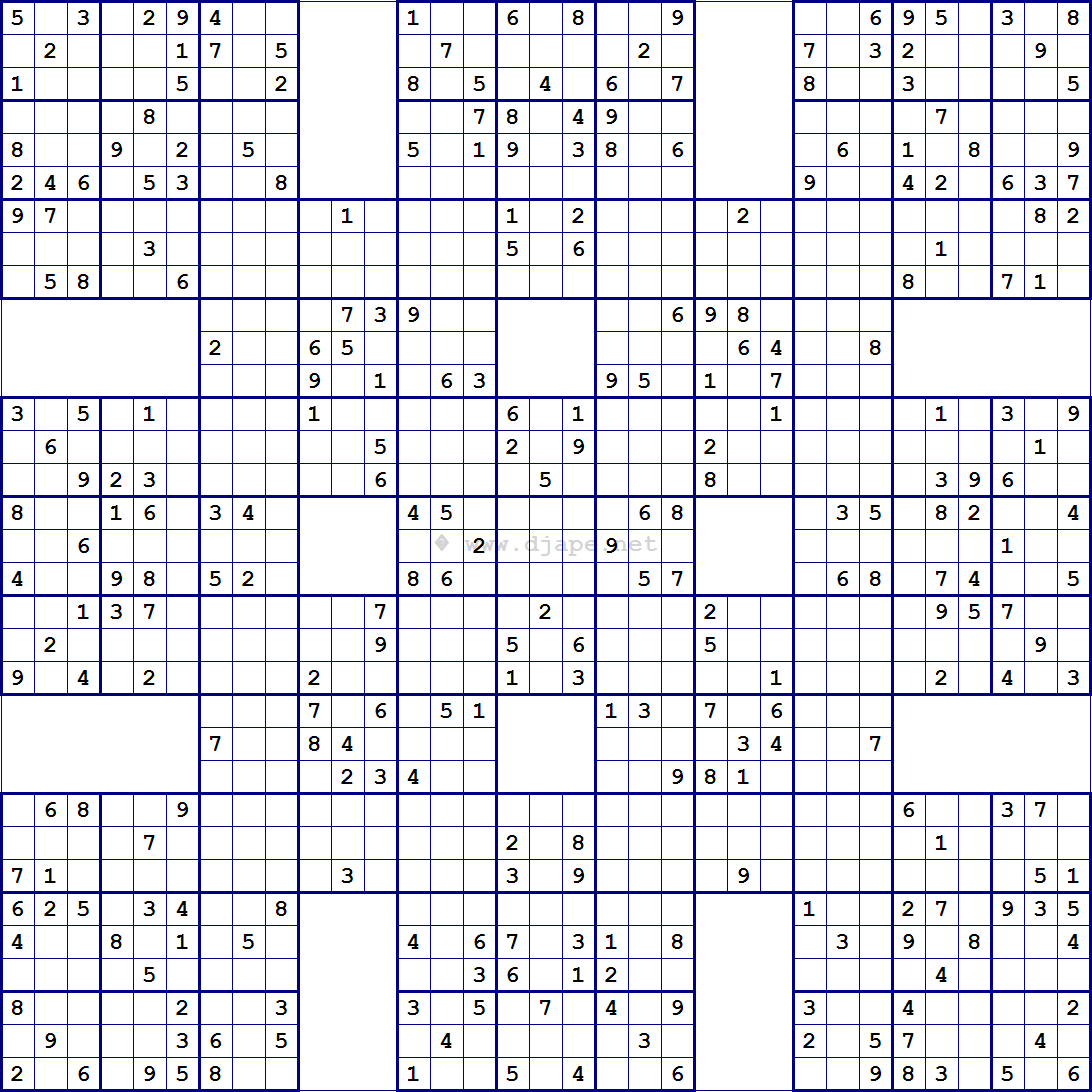 picture relating to 16 Square Sudoku Printable identify Tremendous Samurai Sudoku 13 grids SUDOKU