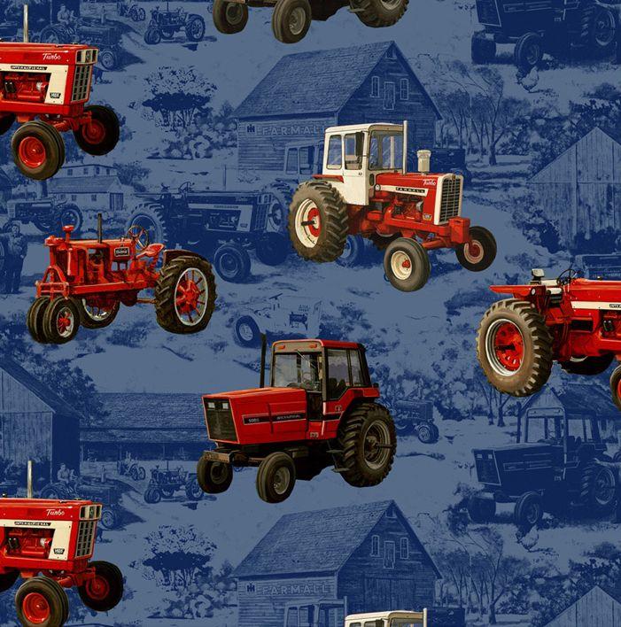 Farmall And Ih Tractors On Blue Toile Blue Toile Farmall Tractors