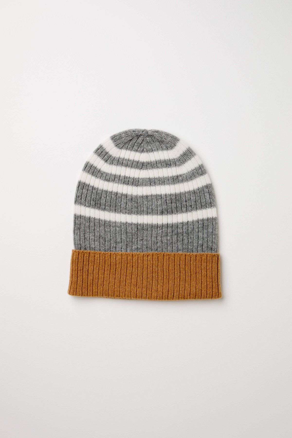 cfde55cdb1c5f Camel Tri Colour Stripe Cashmere Hat