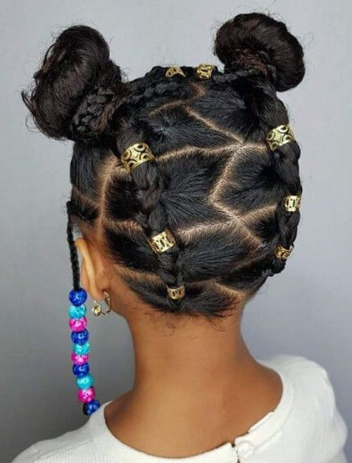 22 Adorable Braids with Beads Hairstyles for Black Kids | Black kids hairstyles, Kids braided ...
