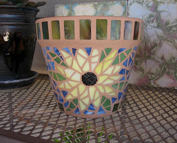 """https://flic.kr/p/9HqxqA   Small Sunflower Plant Pot   Another small 6"""" decorated plant pot.  These are great for herbs in the window or window garden and small succulents and even African Violets. Made with stained glass and grouted twice to ensure the glass and grout levels are even."""
