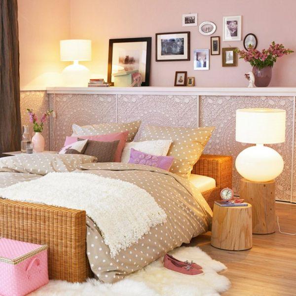 Schlafzimmerwand niedlich gestalten bilderrahmen rattan gestell - tapeten fürs schlafzimmer