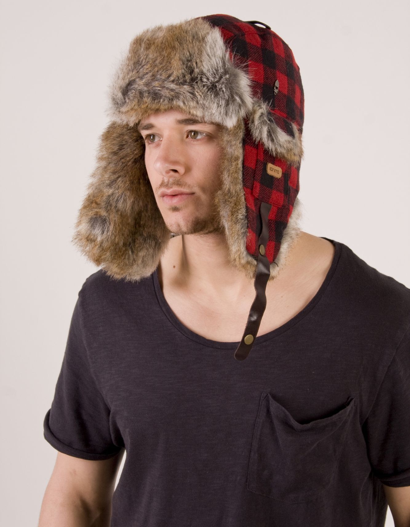 L 2xl Elmer Fudd Hats Hunters Hat Lumberjack Red Black Plaid Check