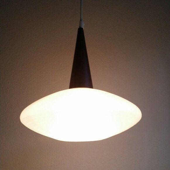 Philips Holland Glass Pendant Light With Wenge Wood Top