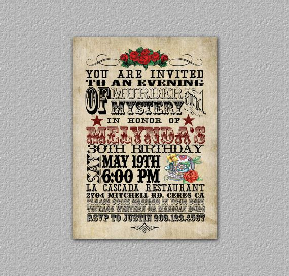 Murder mystery holiday party invitation idea day of the dead by murder mystery holiday party invitation idea day of the dead by theredstardesigns 1200 stopboris Image collections