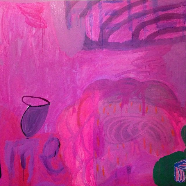 """Crazy Pink Twin, 48""""x48"""", mm on canvas, 2014."""