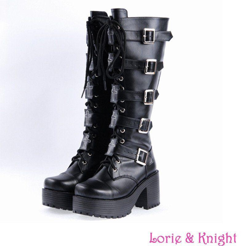 38c0ac47c4d Japanese Harajuku Platform Chunky Heel Cosplay Boots Women Black ...