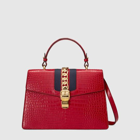 fe780818bd8308 Sylvie crocodile top handle bag - Gucci Women's Exotics 431665EV4CG6473