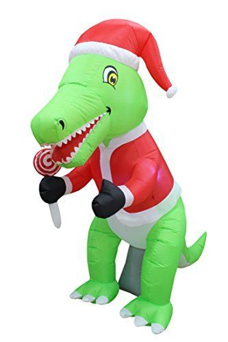 6 Foot Tall Christmas Inflatable Green Dinosaur , Best offer in 2018