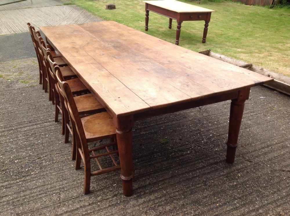 Oak farmhouse table seats 12 comfortably dining room for 12 seat dining table and chairs