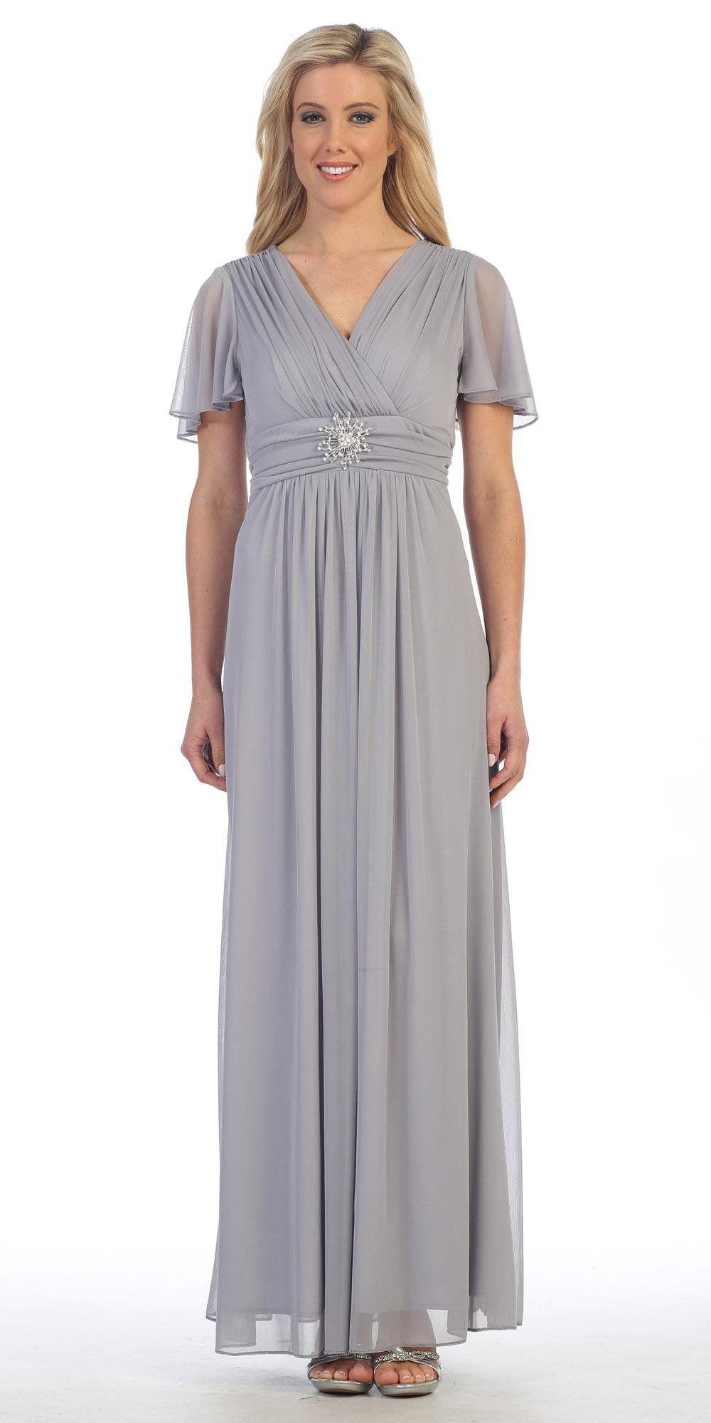 Long v neck semi formal dress silver chiffon matt jersey short