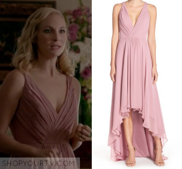 candice accola / caroline forbes pink chiffon dress in the vampire