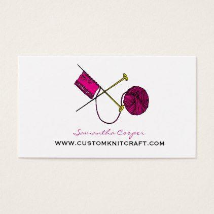 Hot pink crocheting knitting business card colourmoves