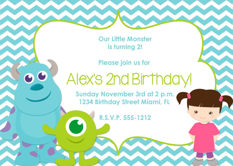Monster Inc Birthday Invitation Inspired   Pinterest   Monsters and ...