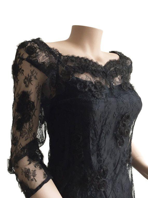 Black Lace 80s Vintage Cocktail Dress Size S M A L L