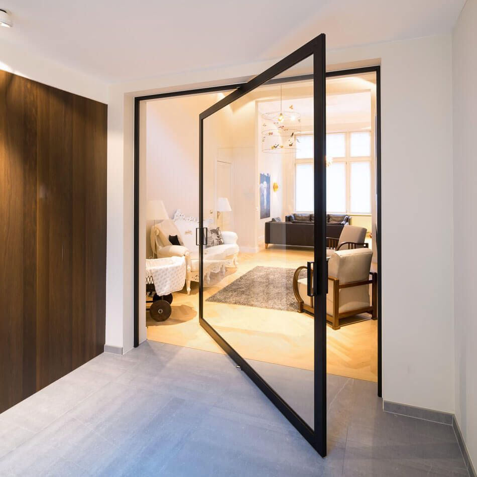 These Pivoting Doors By Anyway Doors Revolve On Hidden Hinges Around A Central Axis Acting As Innovative Room Dividers And Making A Clear Design Statement