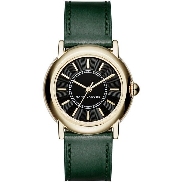 Marc Jacobs Women's Courtney Dark Green Leather Strap Watch 34mm... ($225) ❤ liked on Polyvore featuring jewelry, watches, emerald, black faced watches, marc jacobs, black dial watches, marc jacobs watches and marc jacobs jewellery