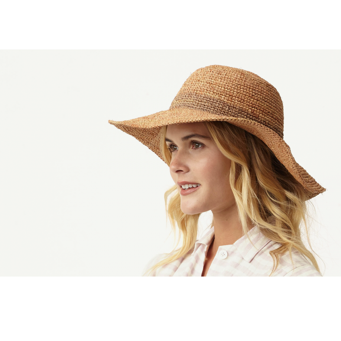 Del Mar Natural Straw Floppy hat front view
