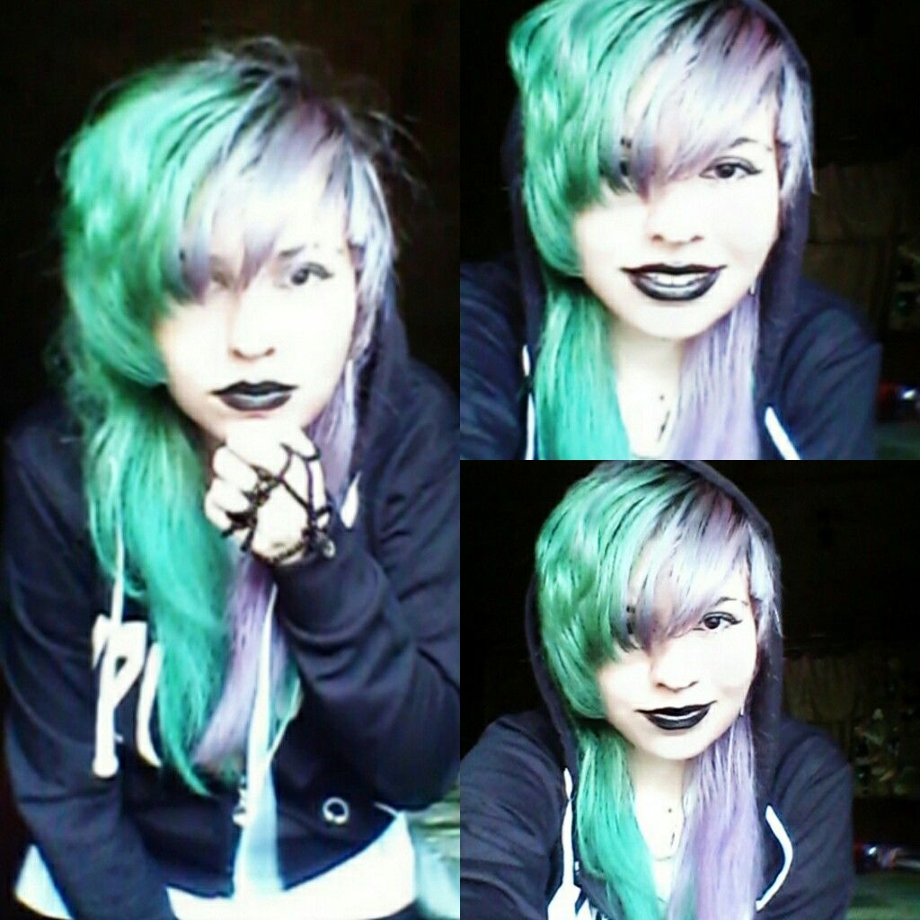 Ella sailen cute emo girl green pink violet lhair emo