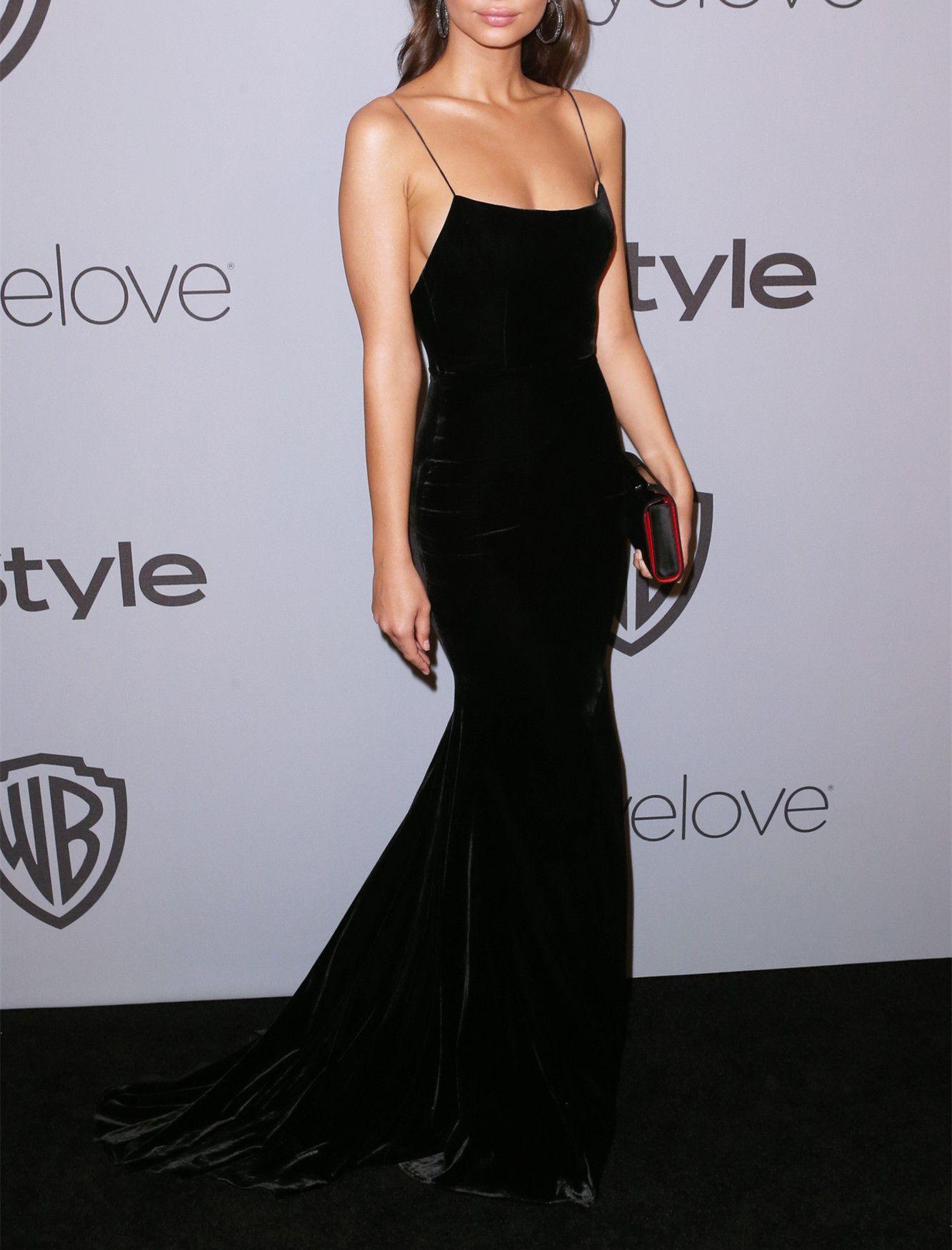 Sexy black spaghetti straps prom dressmermaid sleeveless