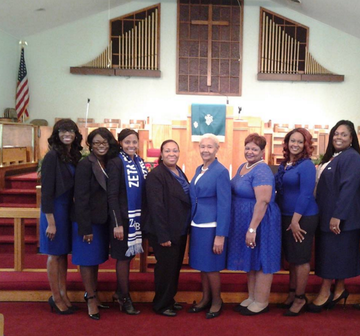 Fall 2015 New members of Zeta Phi Beta Sorority, Incorporated - Alpha Delta Zeta Chapter who attended the Military Appreciation Service at Lynch Street CME-FALL 2015