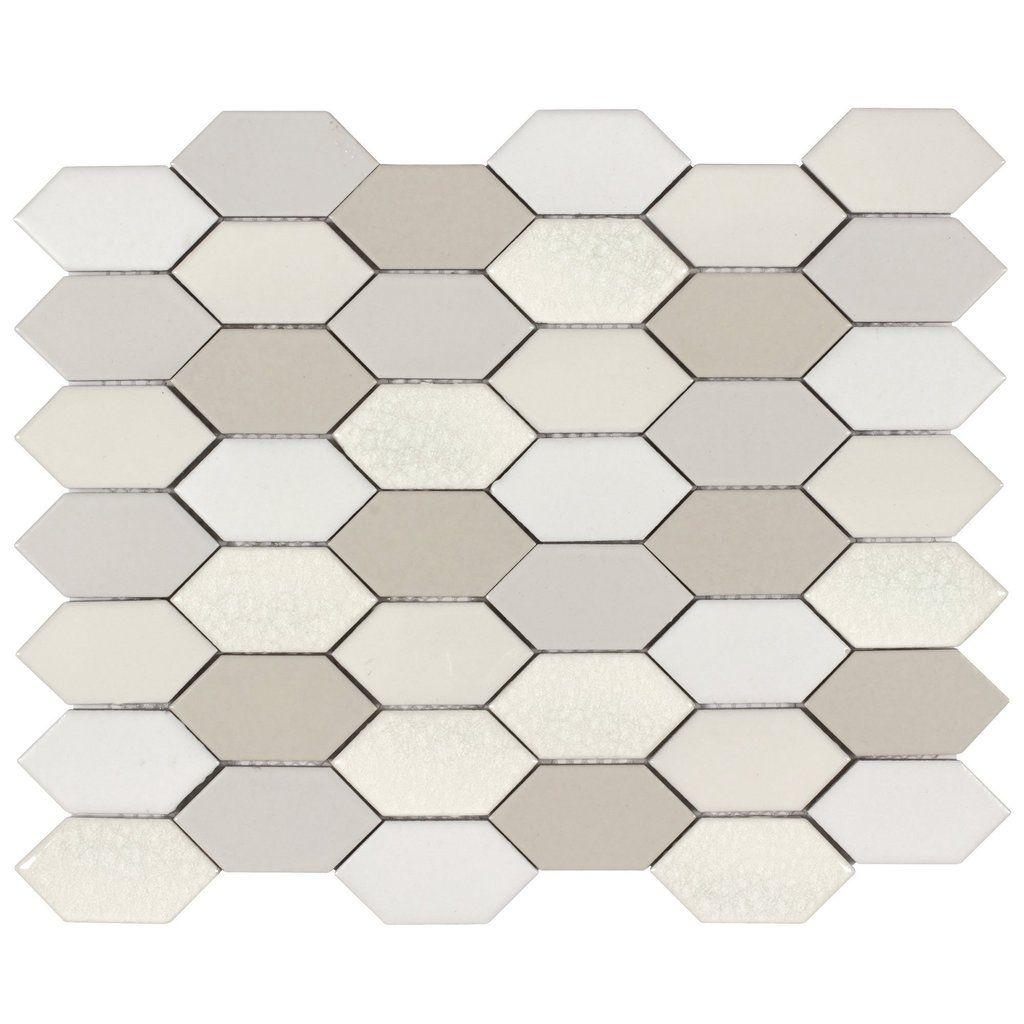 Mto0021 Hexagon 2x3 Beige Gray White Natural Glazed Handmade