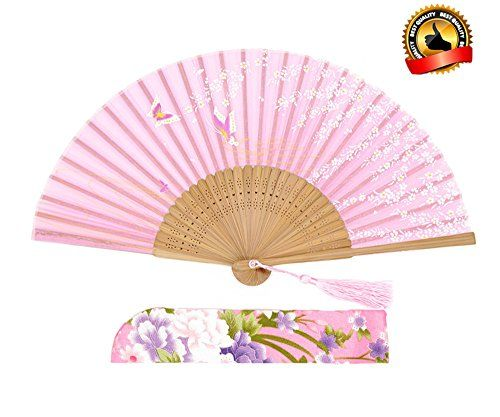 Chinese Cherry Blossom Butterfly Lady Flowers Silk Folding Hand Fan Summer Favor