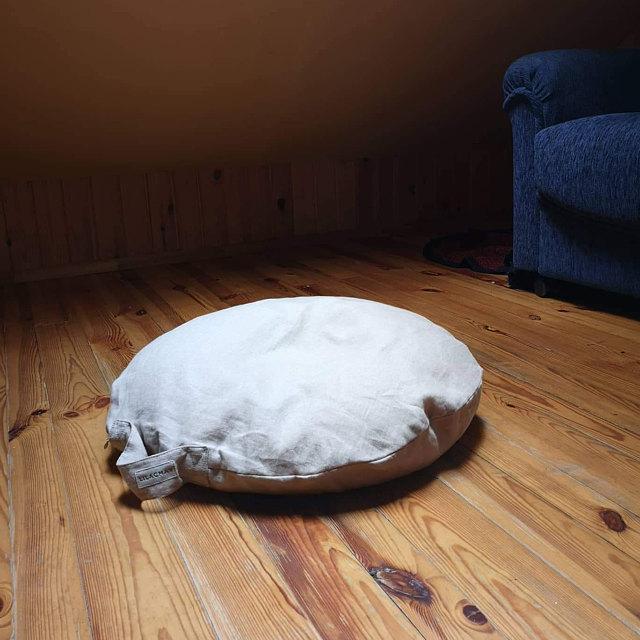 Linen Floor Pillow, Meditation Cushion, Round Pillow & Forest Green