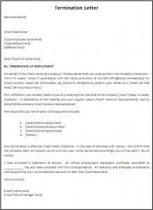 Termination Letter Template  A To Z Templates