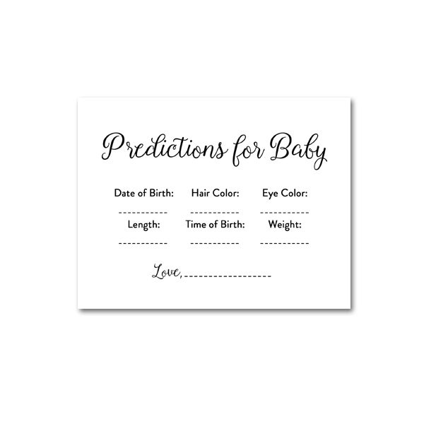 picture regarding Baby Prediction Cards Free Printable known as Totally free Printable Boy or girl Shower Exquisite Straightforward Black and White