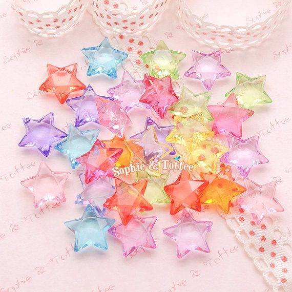 Acrylic Translucent Star Beads 15mm  Star by SophieToffeeCo