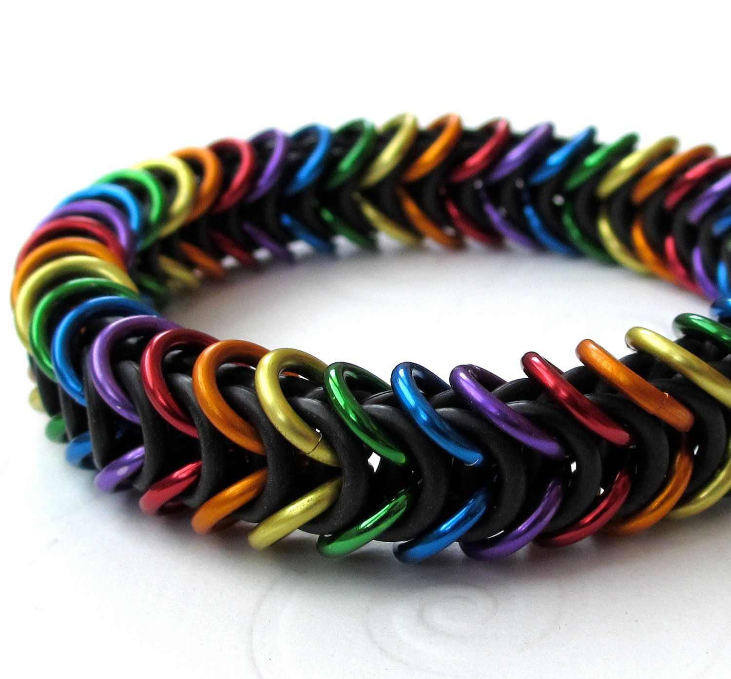 bracelet rainbow tattooedandchained gay pin jewelry chainmail box weave pride by stretchy