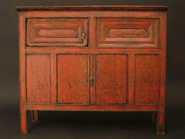 C8433 19thC Tibetan Altar Cabinet - original paint 86 x 39 x 74 cm ...