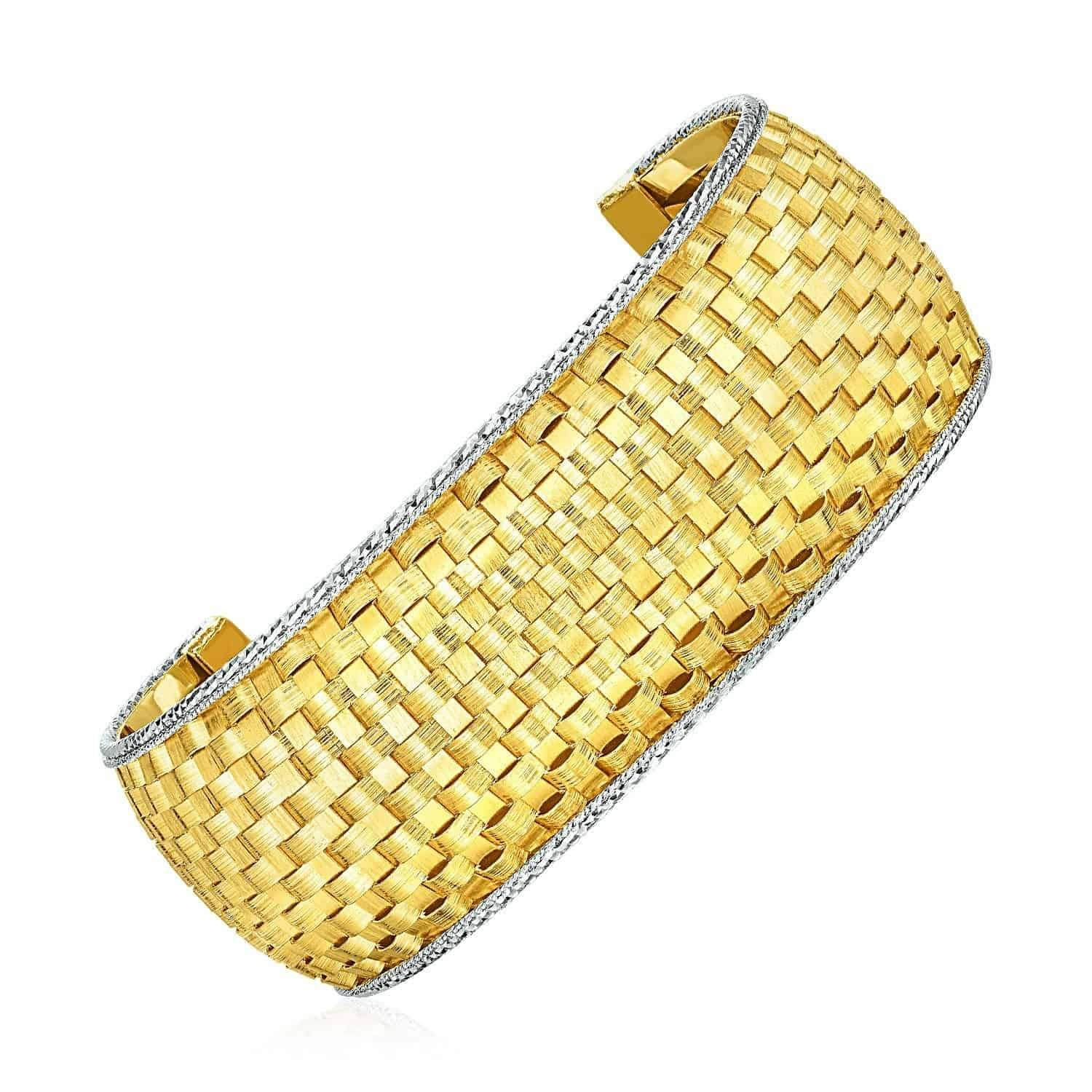 e7f323e596cba Wide Cuff Bangle with Basket Weave Texture in 14k Yellow and White ...