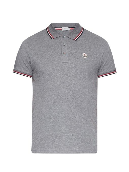 a52e8366ed58 Moncler Stripe-trim cotton-piqué polo shirt