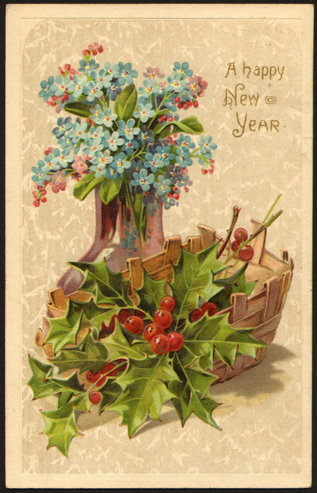 """A post card wishing a Happy New Year with a vase of Forget-me-not flowers: In a German legend, God named all the plants when a tiny unnamed one cried out, """"Forget-me-not, O Lord!"""" God replied, """"That shall be your name."""" Another legend tells when the Creator thought he had finished giving the flowers their colours, he heard one whisper """"Forget me not!"""" There was nothing left but a very small amount of blue, but the forget-me-not was delighted to wear such a light blue shade."""