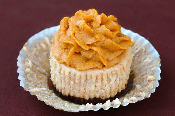 cinnamon mini-cheesecakes with pumpkin pie frosting. nuff said