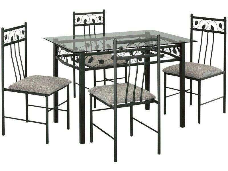 table rectangulaire en verre et m tal 4 chaises shanga. Black Bedroom Furniture Sets. Home Design Ideas