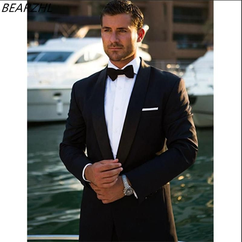 tuxedo for wedding suit black men shawl collar 2018 tailor suits high  quality formal wear slim fit ffe17056f49b